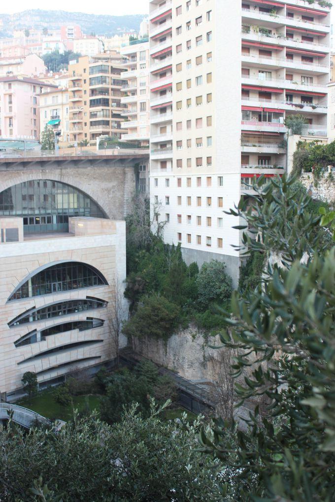 モナコ独特の地形を利用した断崖の駅