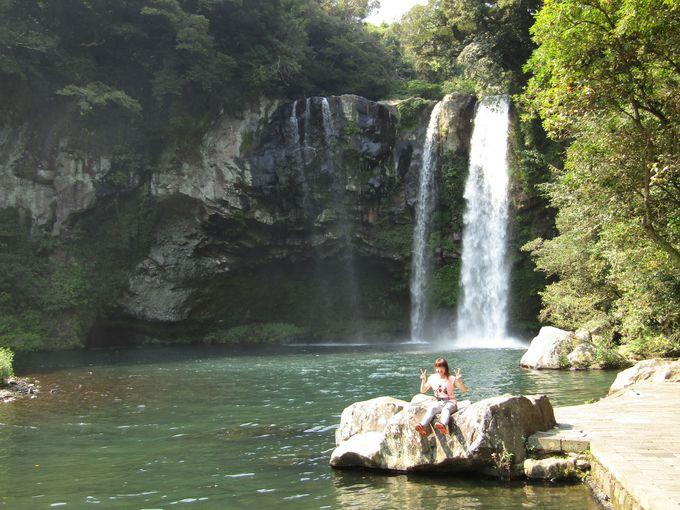 散策路の奥に対峙する「天地淵瀑布」は天然記念物の生息スポット