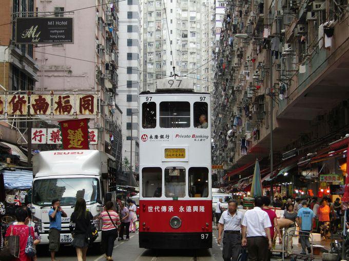 観光ガイドブックでおなじみの風景、市場の中を走るトラム