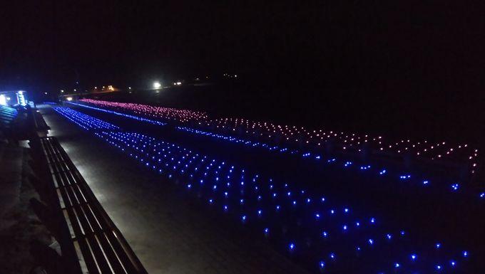 「世界一長いベンチ」のイルミネーションは夏〜秋限定!