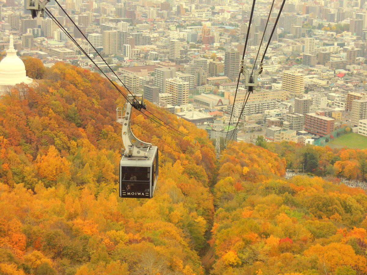 最新型のロープウェイは札幌の四季を楽しめる大きな窓が魅力