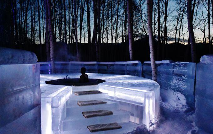 神秘的な氷の露天風呂に入浴できるのは宿泊体験者だけ!