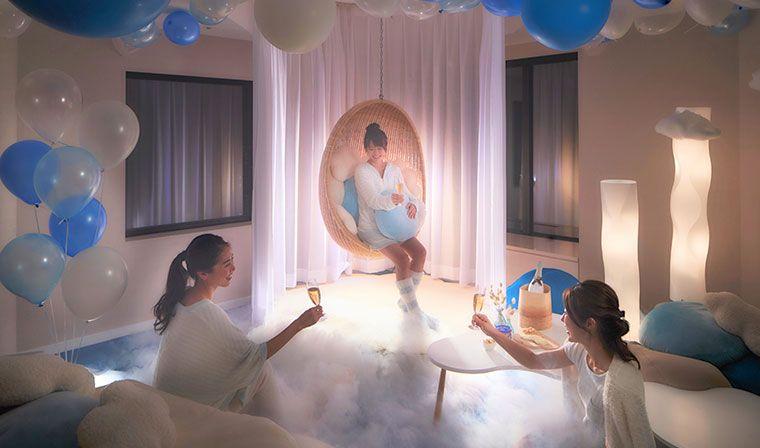 嘘でしょ?部屋に雲がっ!雲海発生の「雲パーティー」は雲の中で乾杯!