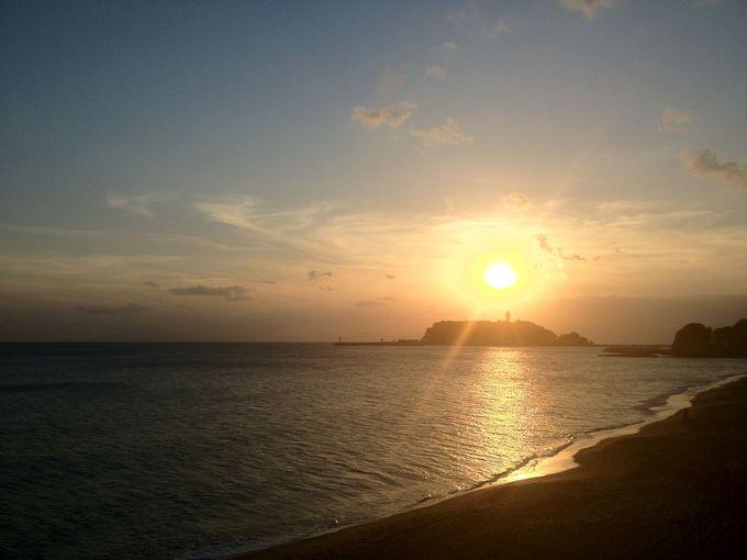 いよいよ湘南の海へ!夕方には絶景の江ノ島がくっきりと!