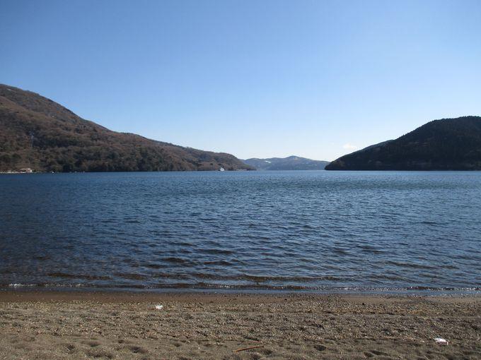 芦ノ湖畔の秘境・真田浜で小休止。
