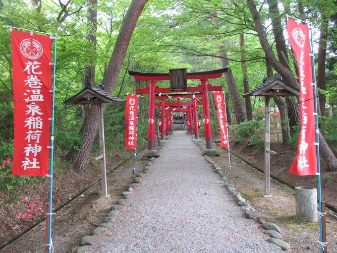園内にはバラ園や稲荷神社、そして滝まで!