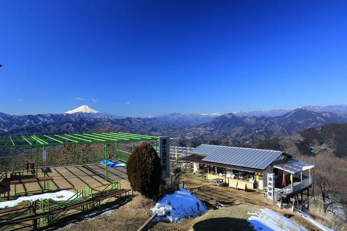 陣馬山山頂は、富士山,丹沢、奥多摩、遠くにアルプスも望める!