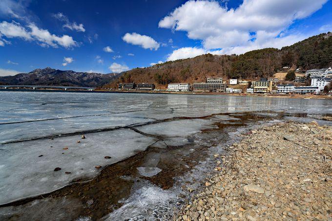 冬の大自然を楽しみながら河口湖畔まで