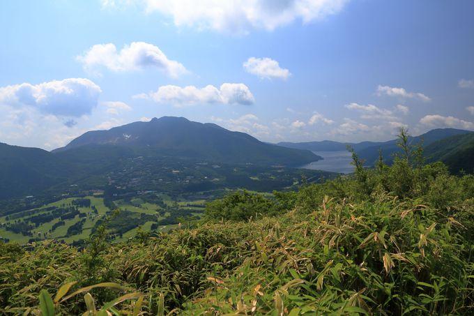 山頂から芦ノ湖や箱根の山々、運が良ければ富士山の大絶景も