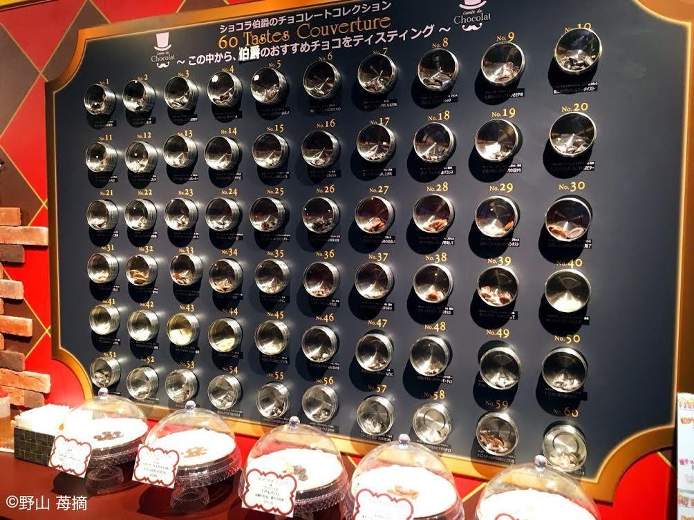 60種類のチョコレートが並ぶカフェ