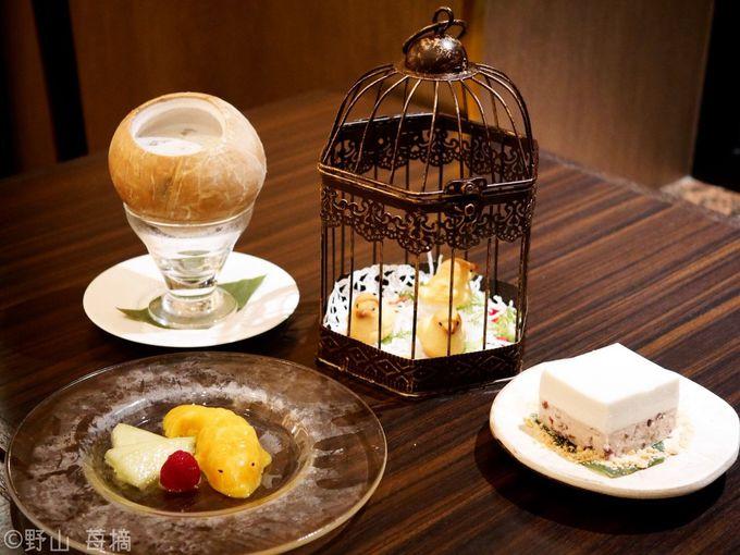 デザートも充実!冷製ココナッツスープに金魚型のマンゴープリン!