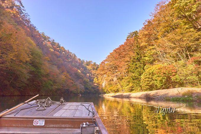猊鼻渓舟下りで、朝から紅葉狩り!