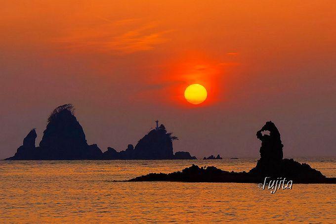 大田子海岸の夕日はズームレンズで!