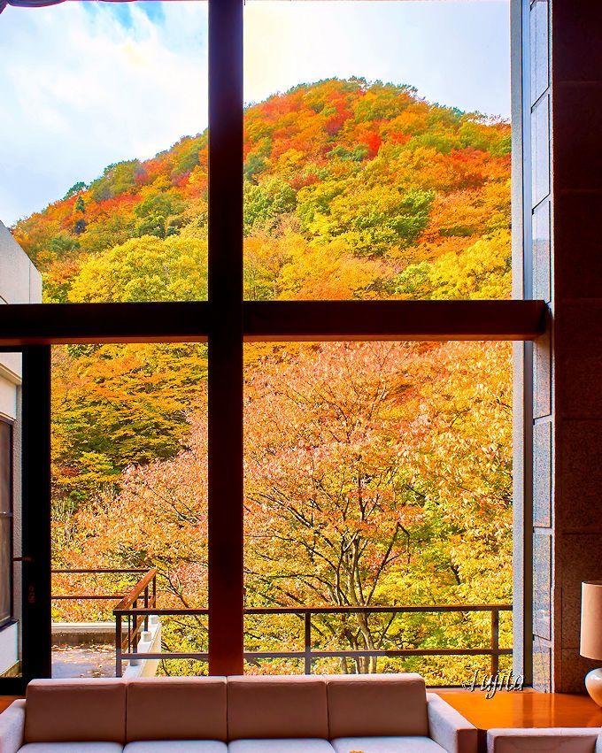 作並温泉岩松旅館のラウンジも、絶景の紅葉狩りが可能