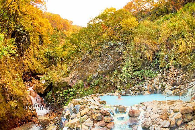 燕温泉「河原の湯」の紅葉!