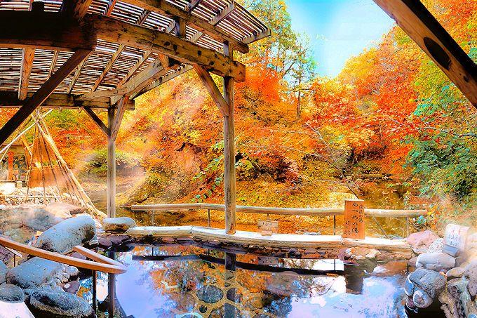 日本屈指の紅葉露天風呂!「ゆづくしSalon一の坊」広瀬川源流露天風呂