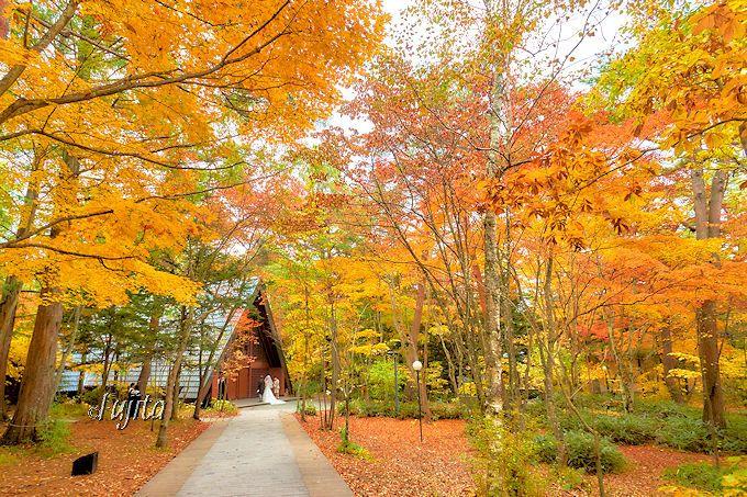 見られたら超ラッキー!軽井沢高原教会の紅葉ウエディングを祝福しよう