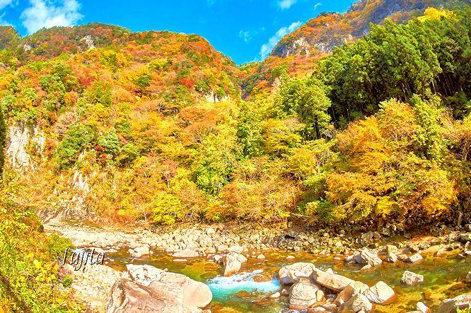 「奇面岩」と「武者岩」の紅葉は、香落渓で一番おすすめ!