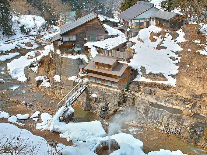 スノーモンキーと雪見露天風呂の地獄谷温泉「後楽館」