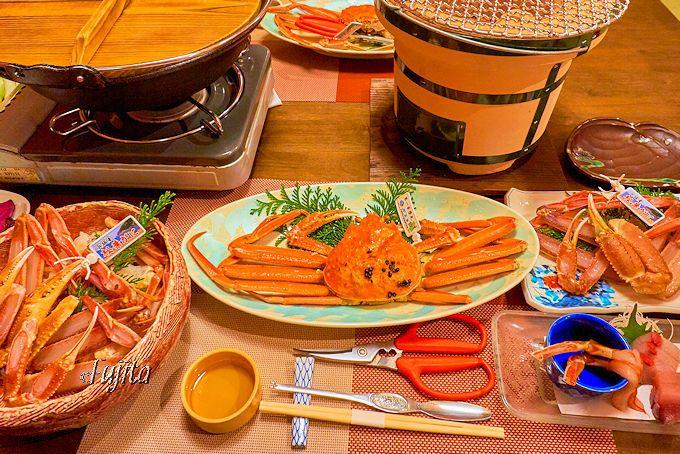 1人2杯のタグ付き活松葉ガニ!湯村温泉「木の香いろり 寿荘」で贅沢蟹三昧