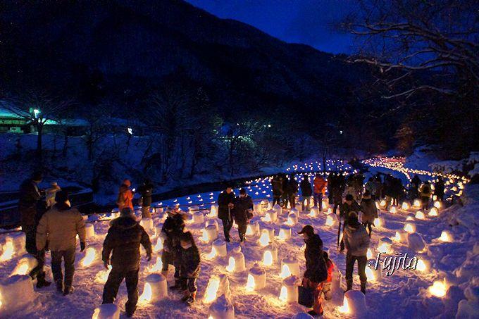 湯西川温泉「かまくら祭」のライトアップ観覧場所
