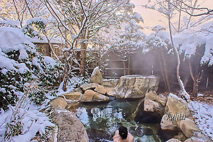 福地温泉「湯元長座」の雪見露天風呂
