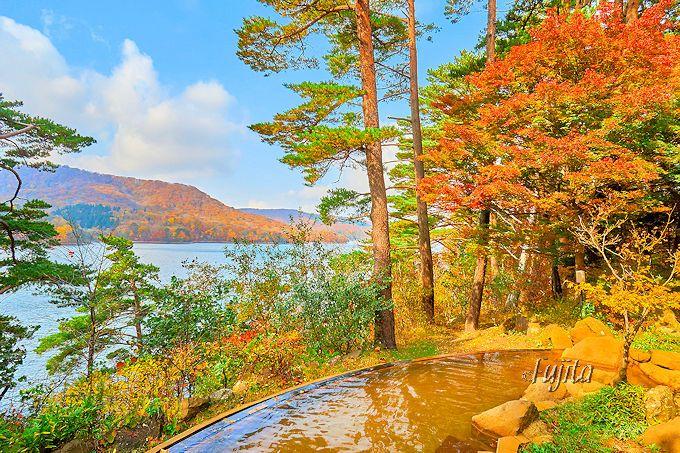 桧原湖を望む露天風呂が最高!