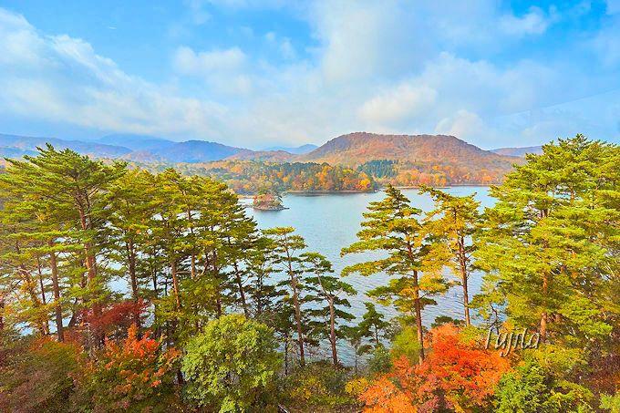 裏磐梯レイクリゾートから桧原湖を一望!