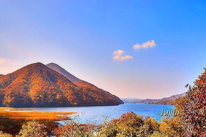 紅葉の秋元湖を至近距離から一望!