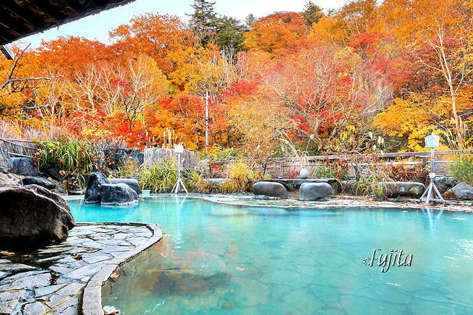 松川渓谷の紅葉第3位!松川温泉「松川荘」の紅葉露天風呂