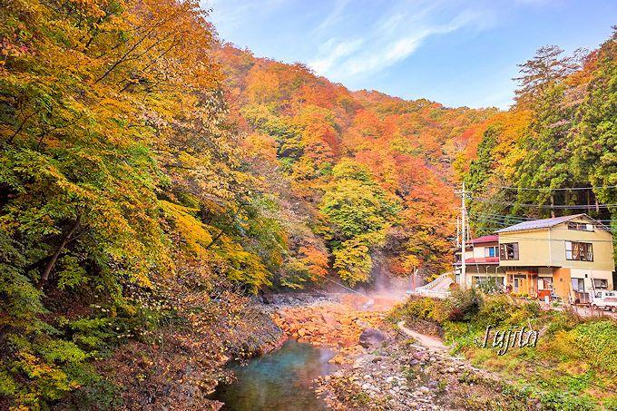 紅葉に彩られる尻焼温泉