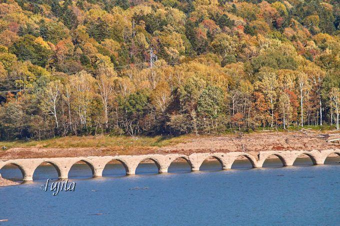「タウシュベツ川橋梁」の展望台から紅葉狩り!