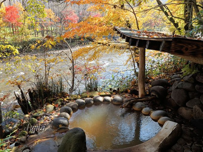 貸切露天風呂毎に異なる紅葉の風情!