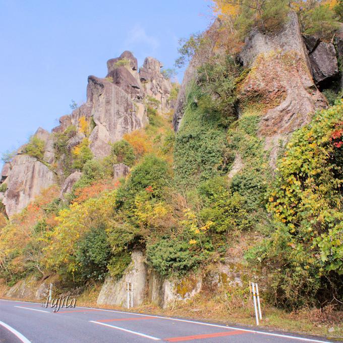 裏耶馬渓「伊福の景」の紅葉は一目八景から近い!