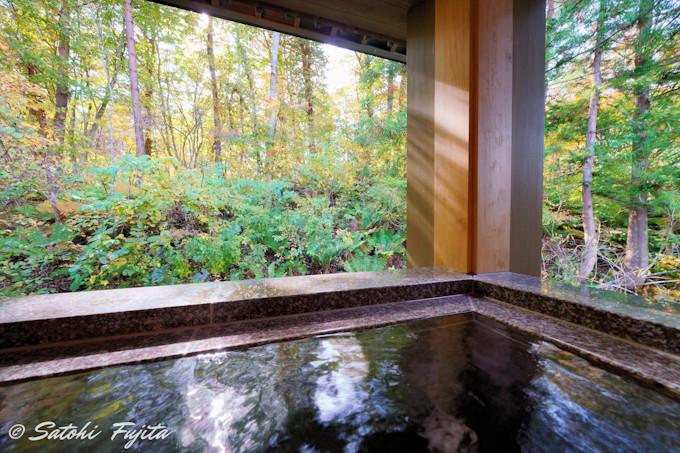 沼に面した別館客室は温泉付き!