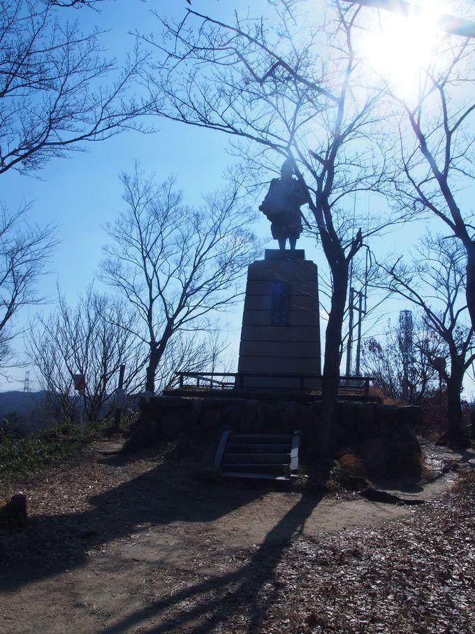 楠木正行像が高くそびえる本丸