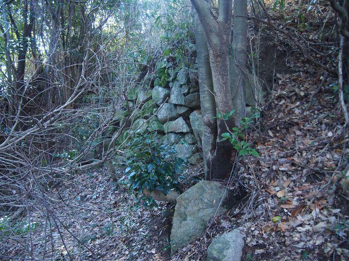 ところどころに見られる古い石垣や堀切