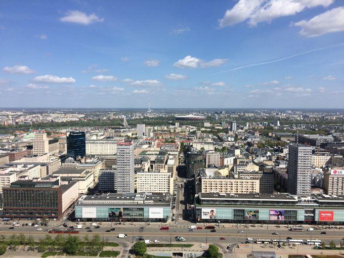 中心市街地のランドマーク「文化科学宮殿」から街を見下ろす