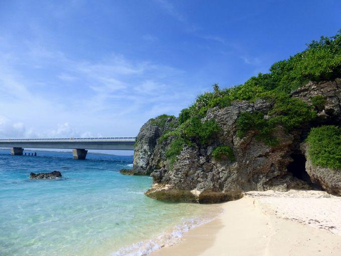橋のたもとにある穴場の絶景ビーチ?!池間島「お浜ビーチ」