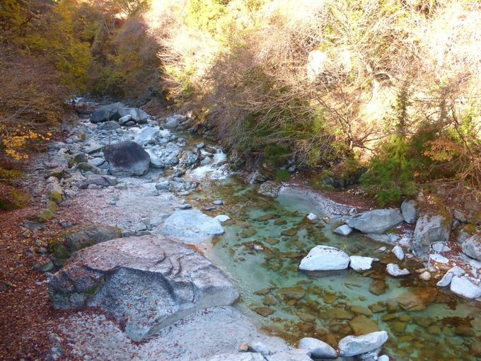 尾白川に架かる吊り橋を渡ればそこが渓谷の入口!