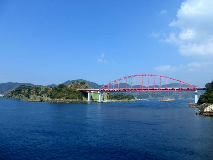 真っ赤な「樺島大橋」を渡って、早速樺島へゴー!