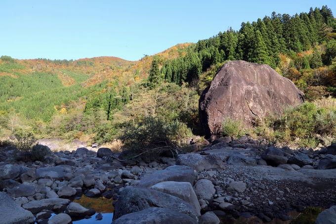 自然が作った大迫力の地形とともに!「百万貫の岩」の紅葉