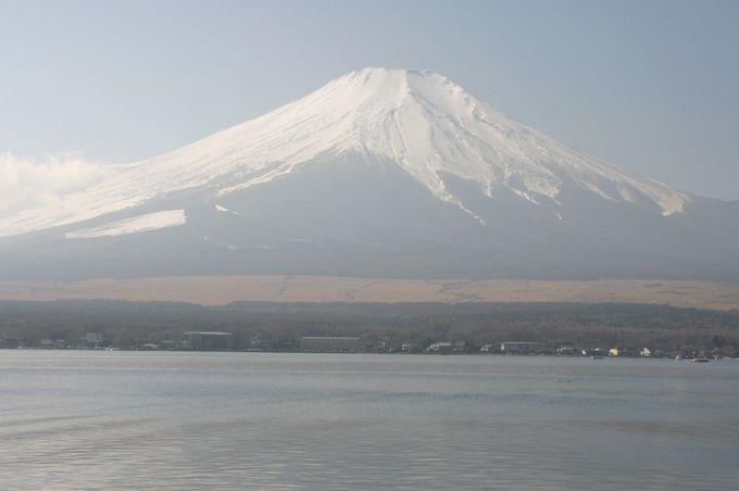 山中湖の湖畔から眺める富士山
