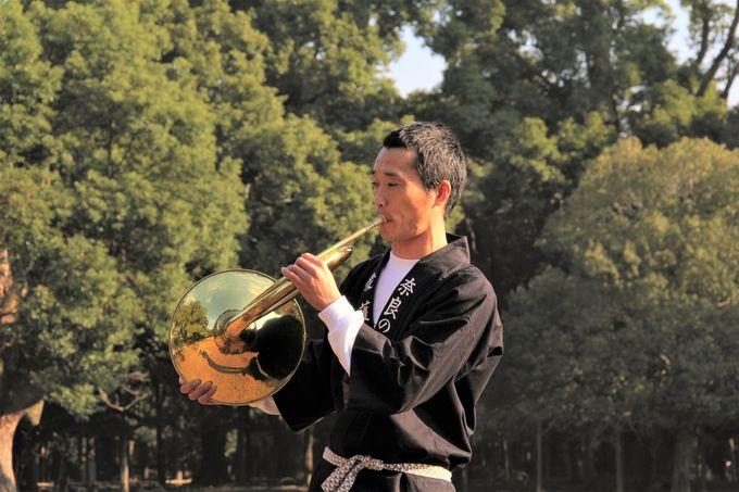 早朝の奈良公園!鹿を呼ぶ魔法のホルン?