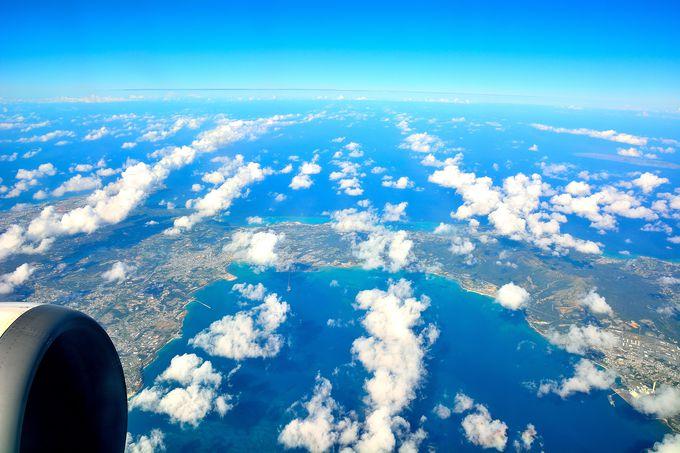 東シナ海と太平洋が一望できるスポット!那覇空港から各地に戻る機上から