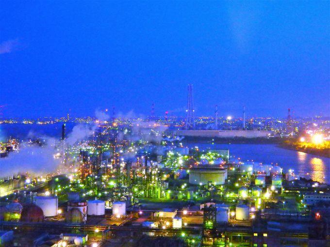 四日市工場夜景のスタートは展望台「うみてらす14」から