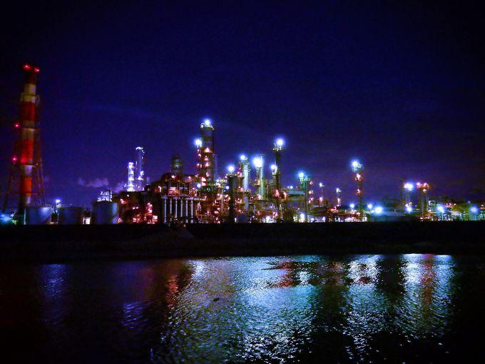 四日市工場夜景のハイライト、大正橋付近へ。