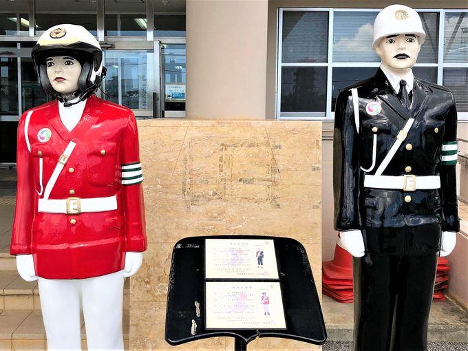 宮古島まもる君は島の交通安全を見守る警察官(型人形)