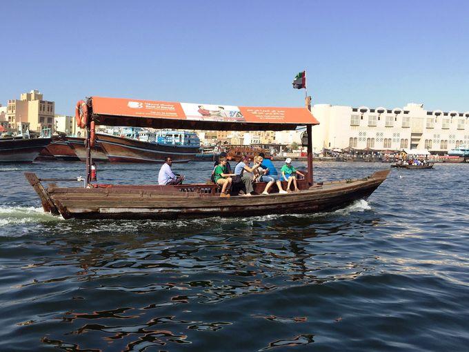 ドバイ・クリークサイドをレトロなポンポン船「アブラ」に乗って対岸に!まずは風情を楽しんで!