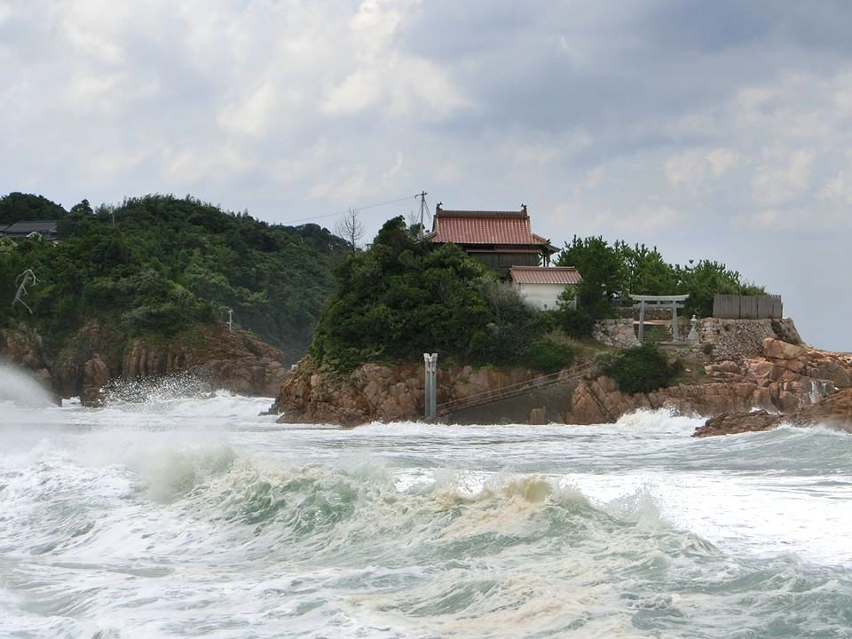 大潮の時には島に渡れない!
